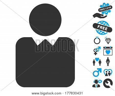Client icon with bonus decoration pictograms. Vector illustration style is flat iconic blue and gray symbols on white background.