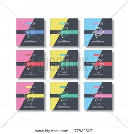 Square Sale lettering design set bundle. Summer Spring Winter Sale, seasonal