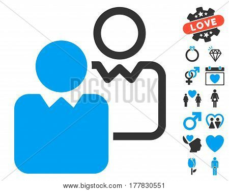 Clients icon with bonus decoration graphic icons. Vector illustration style is flat iconic blue and gray symbols on white background.