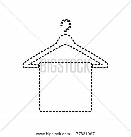 Towel On Hanger sign. Vector. Black dashed icon on white background. Isolated.