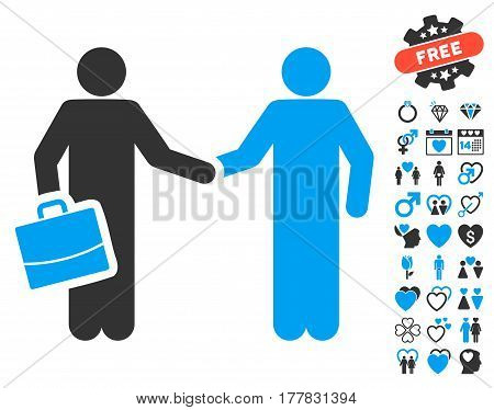 Contract pictograph with bonus romantic pictures. Vector illustration style is flat iconic blue and gray symbols on white background.