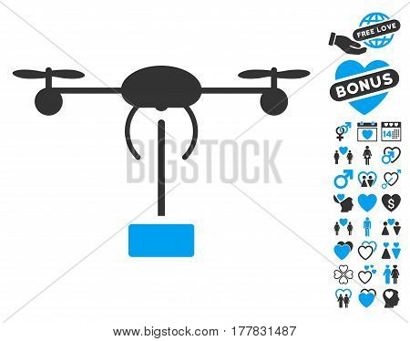Copter Shipment pictograph with bonus decorative pictograms. Vector illustration style is flat iconic blue and gray symbols on white background.