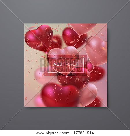 Balloon Hearts. Vector holiday illustration of bunch of balloon hearts. Happy Valentines Day. Festive honeymoon decoration. Wedding invitation concept. Banner, flyer, card or poster template design