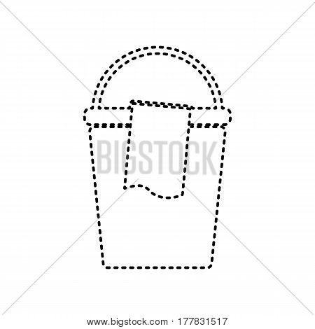 Bucket and a rag sign. Vector. Black dashed icon on white background. Isolated.
