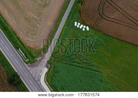 Aerial view of the crossroads between fields