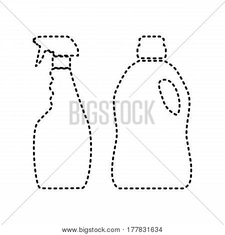 Household chemical bottles sign. Vector. Black dashed icon on white background. Isolated.