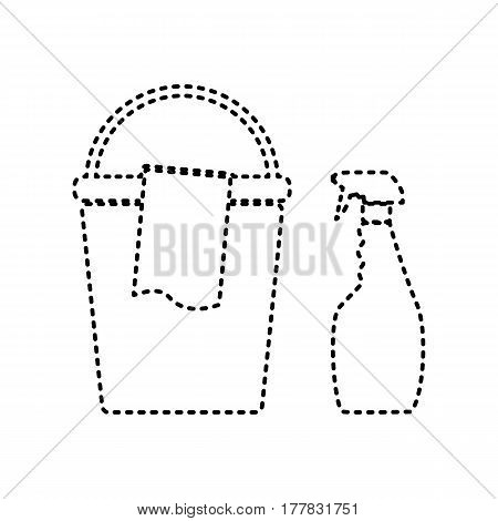 Bucket and a rag with Household chemical bottles. Vector. Black dashed icon on white background. Isolated.