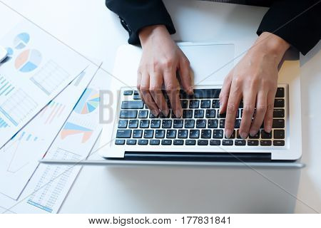 Business Working In Office Concept. Typing Hands..