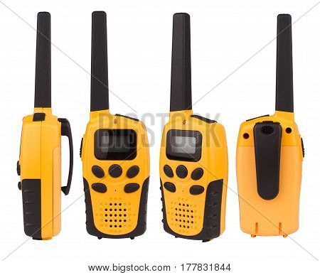 different angle views of yellow walkie talkie with black keypad isolated on white background