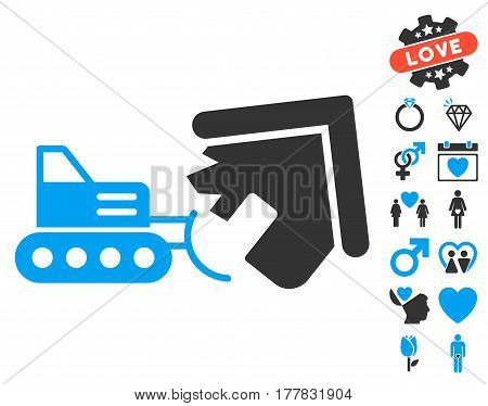Demolition pictograph with bonus decoration images. Vector illustration style is flat iconic blue and gray symbols on white background.