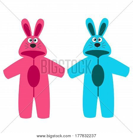 Romper suit. Rompers with ears. Rompers bunny. For girls and boys. Vector illustration.