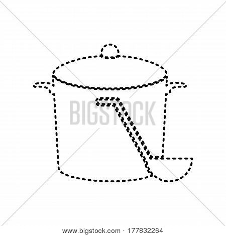 Pan with steam sign. Vector. Black dashed icon on white background. Isolated.