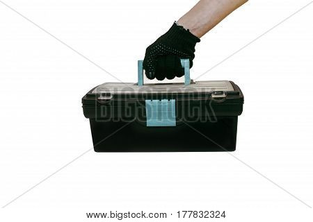 The tool box in hand isolated on white