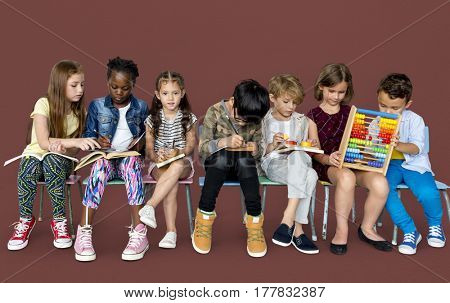 Group of students sitting together study