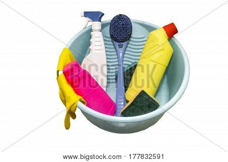 Cleaning set with tools and products, isolated on white