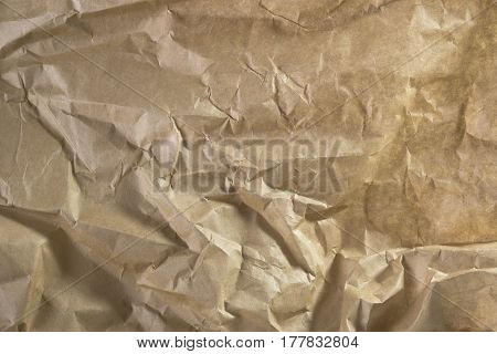 Old Wrinkled Paper Background, Papers Folds Wrinkles Texture, Brown Weathered Parchment