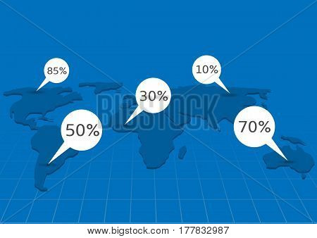Blue World map with white statistical information pointers. Statistical indicators