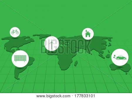 Green earth Bio concept Eco concept Wind energy Solar energy Bicycle icon Alternative energy Green house