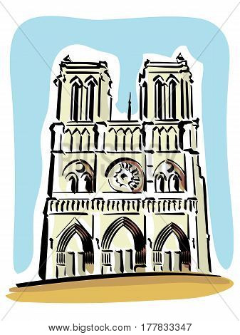 vector illustration of Notre Dame de Paris Cathedral