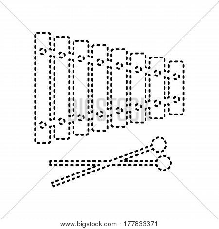 Xylophone sign. Vector. Black dashed icon on white background. Isolated.