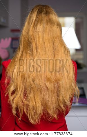 Female long straight blonde hair, rear view, against the backdrop of beauty salon