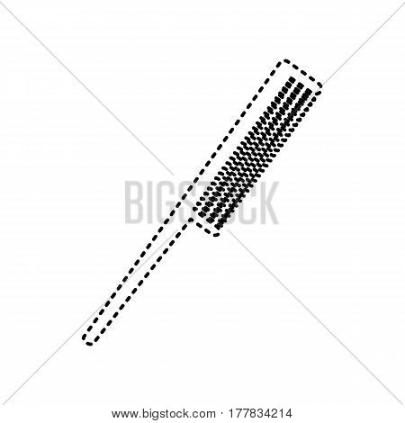 Comb sign. Vector. Black dashed icon on white background. Isolated.
