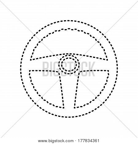 Car driver sign. Vector. Black dashed icon on white background. Isolated.