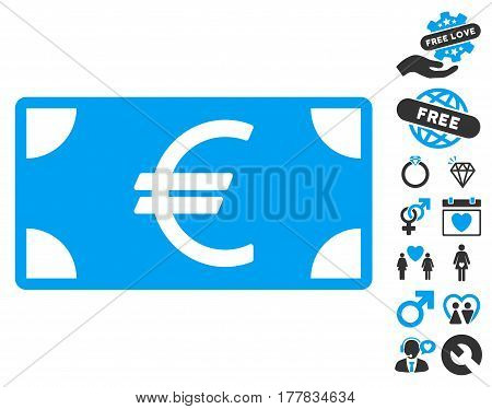 Euro Banknote icon with bonus amour pictograms. Vector illustration style is flat iconic blue and gray symbols on white background.