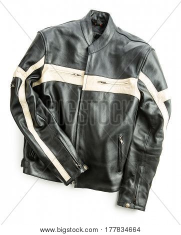 Leather motorcycle jacket isolated on white background.