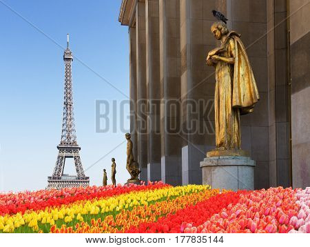 eiffel tour and statues of Trocadero garden, dating from the 1930s, spring time in Paris, France
