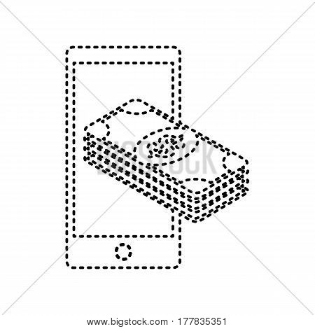 Payment, refill your mobile smart phone, . Vector. Black dashed icon on white background. Isolated.