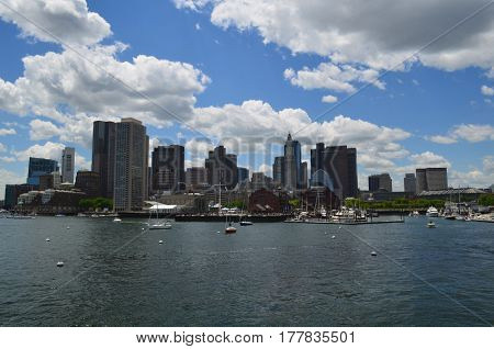 A summer day in the City of Boston and Boston Harbor.