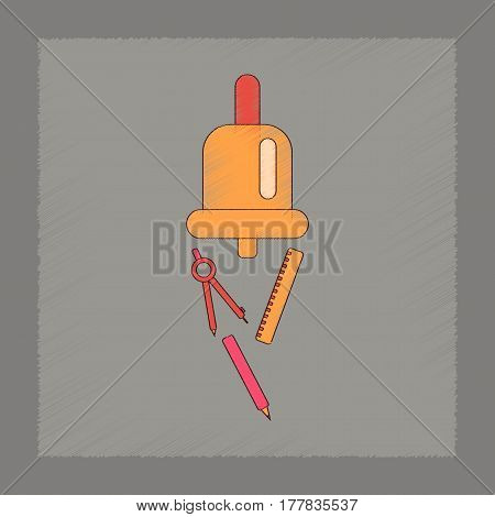 flat shading style icon of bell pencil ruler