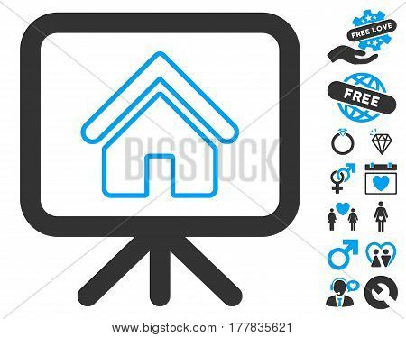 Free Gift Offer pictograph with bonus valentine icon set. Vector illustration style is flat iconic blue and gray symbols on white background.