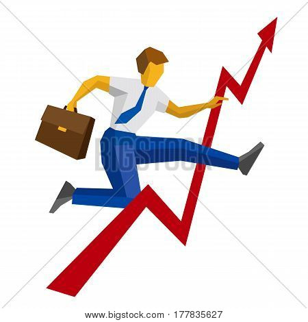 Businessman With Case Jump Over Decrease In Chart