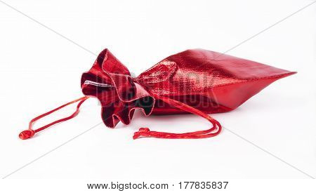 Red gift bag isolated on a white background