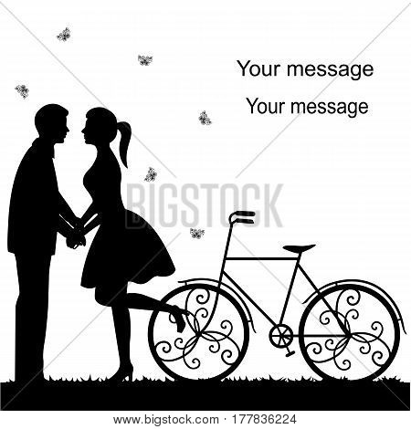 Wedding card with a decorative bicycle couple in love and butterflies.. Bride and groom. Also suitable for invitation card. Vector illustration.