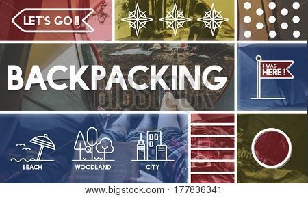Backpacking journey outdoors travel graphic