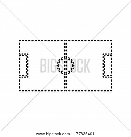Soccer field. Vector. Black dashed icon on white background. Isolated.
