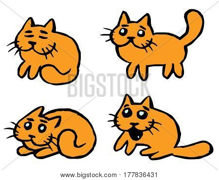 Orange cats emoticons set. Funny cartoon cool character. Contour Freehand Digital Drawing Cute Cats. White Color Background. Cheerful Pet Collection for Web Icons and Shirt. Isolated Vector Illustration.