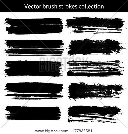 Vector set of grunge brush strokes. Element for your design.