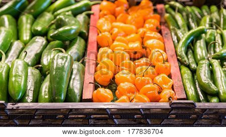 Three Kinds of Peppers in a Market