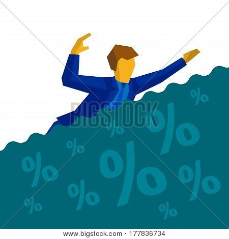Businessman Is Drowning In Debt And Loans