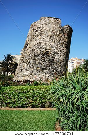 Old watchtower ruin as the Torre Ladeada Lagos Malaga Province Andalusia Spain Western Europe.