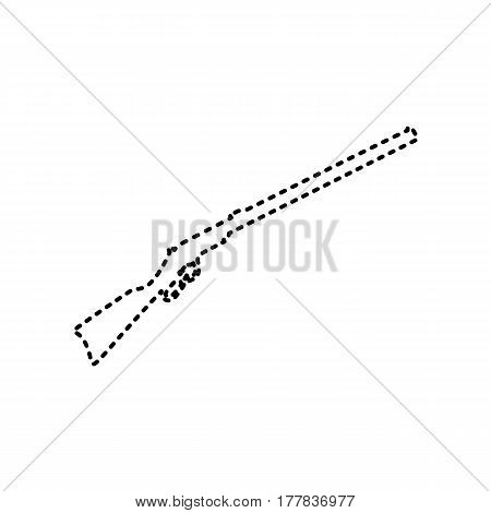 Hunting rifle icon vector illustration. Silhouette gun. Vector. Black dashed icon on white background. Isolated.