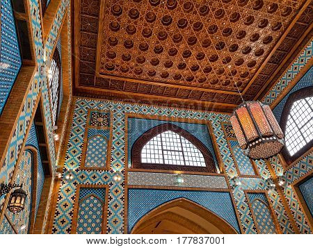 DUBAI CIRCA February 2017 - United Arab Emirates - A Beautiful Arabian Traditional Heritage Interior Decorated Hall In The Ibn Battuta Mall