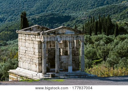 A mausoleum in the archaeological site of ancient Messene in Peloponnese, Greece
