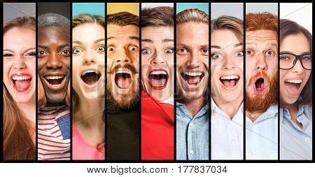 The collage of young women and men smiling and surprised face expressions