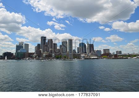 Gorgeous view of the City of Boston in Massachusetts.