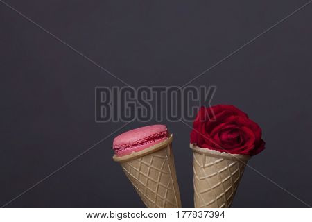 Pink Macaron, Tasty Cookies In Waffle, Wafer Ice Cream Cone